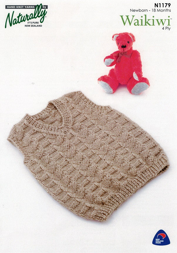 Naturally Knitting Pattern N1179 - Babies patterned Vest in 4-ply / Fingering