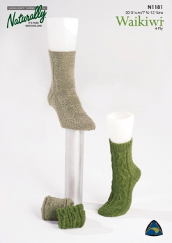 Naturally Knitting Pattern N1181 - Two adult sock patterns in 4-ply / Fingering