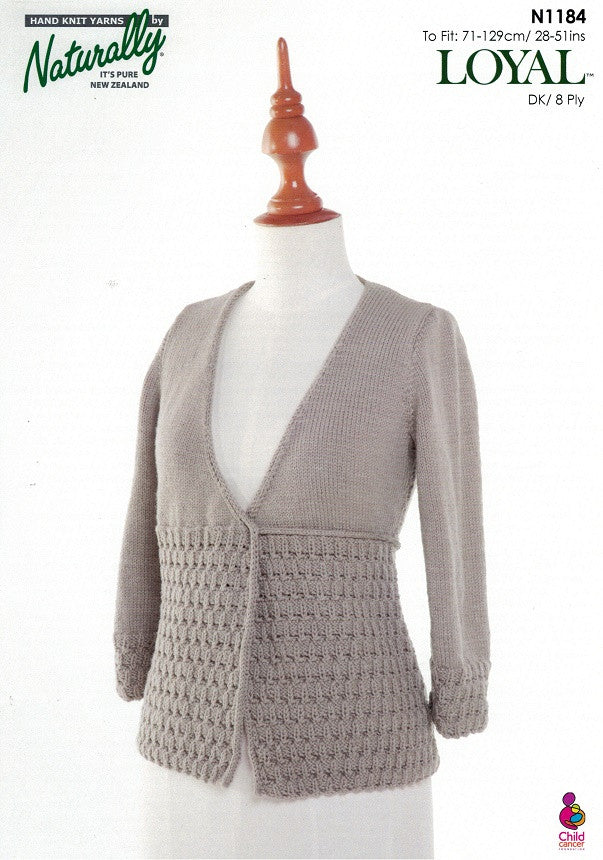 Naturally Knitting Pattern N1184 - Ladies wrapped Cardigan in 8-ply / DK