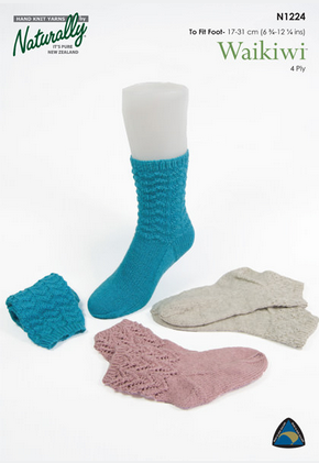 Naturally Knitting Pattern N1224 - Three socks patterns in in 4-ply / Fingering