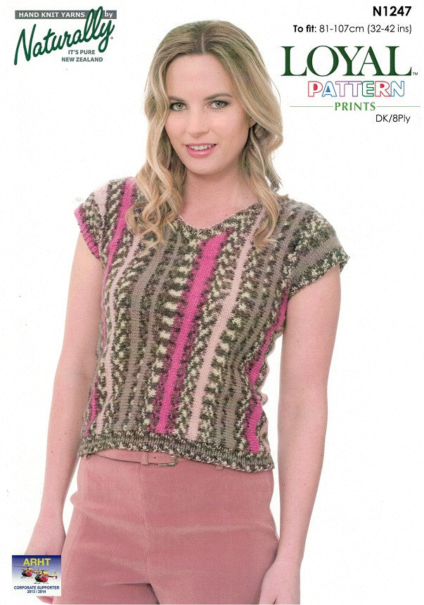Naturally Knitting Pattern N1247 - Ladies Sideways-knit short-sleeve Pullover in 8-ply / DK