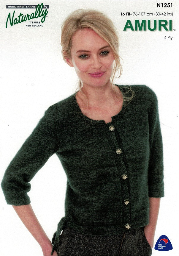 Naturally Knitting Pattern N1251 - Ladies Cardigan with side tie and elbow-length sleeves in 4-ply / Fingering