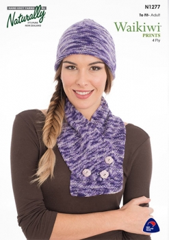 Naturally Knitting Pattern N1277 - Ladies hat and scarf in 4-ply / Fingering