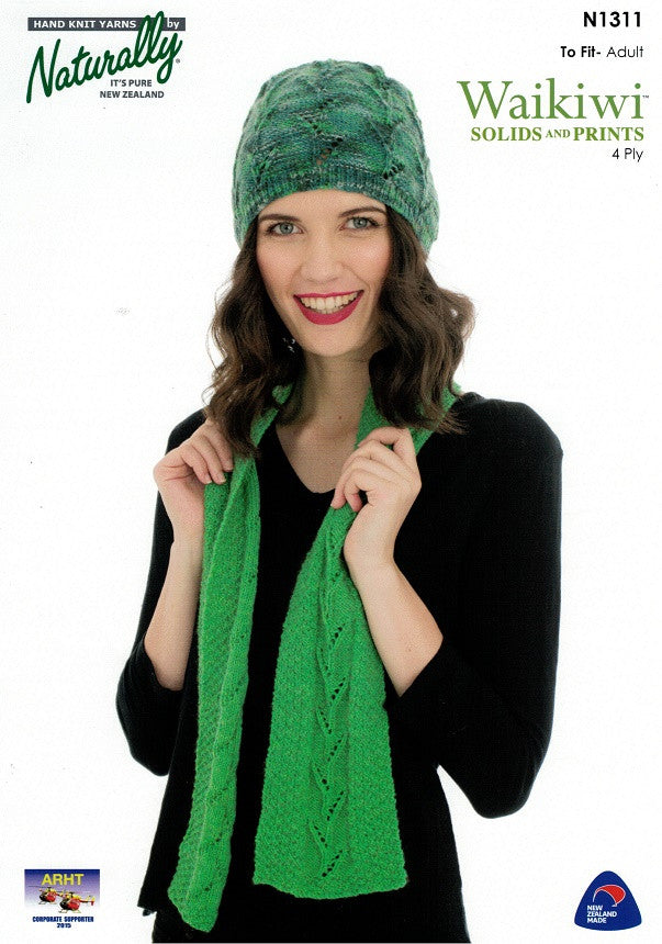 Naturally Knitting Pattern N1311 - Ladies Hat and Scarf with leaf pattern in 4-ply / Fingering