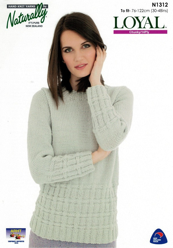 Naturally Knitting Pattern N1312 - Ladies Pullover with crew neck in 14-ply / Chunky