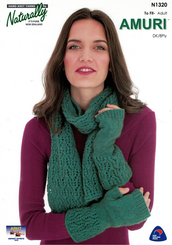Naturally Knitting Pattern N1320 - Ladies Lacy Mitts and Scarf in 8-ply / DK