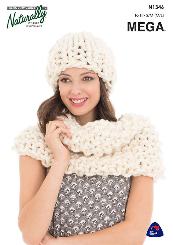 Naturally Knitting Pattern N1346 - Ladies Hat and Scarf in Super ...