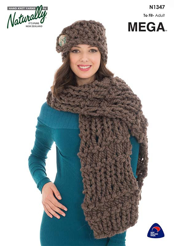 Naturally Knitting Pattern N1347 - Ladies Headband and Scarf in Super Chunky