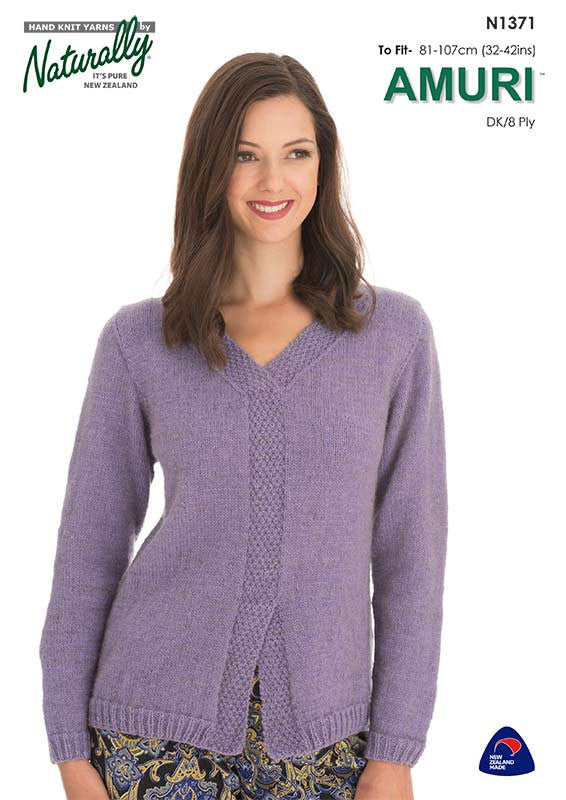 Naturally Knitting Pattern N1371 - Ladies Pullover Sweater patterned faux button-band in 8-ply / DK