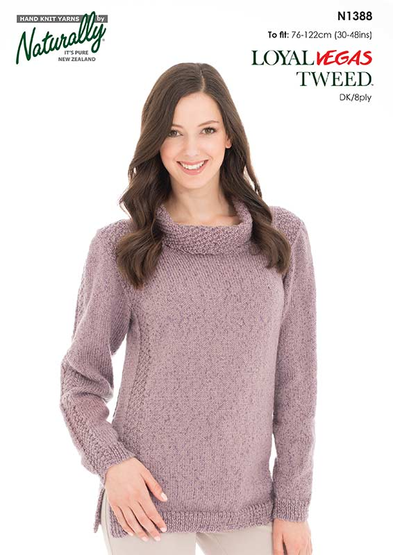 d66280408347f Naturally Knitting Pattern N1388 - Ladies Jumper with Textured Panels in  8-ply   DK