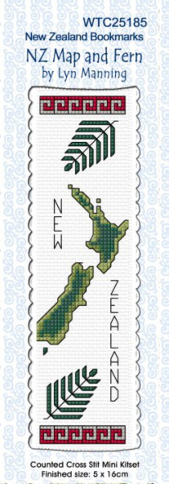Cross-stitch bookmark - NZ Map and Fern