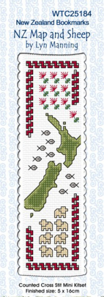 Cross-stitch bookmark - NZ Map and Sheep