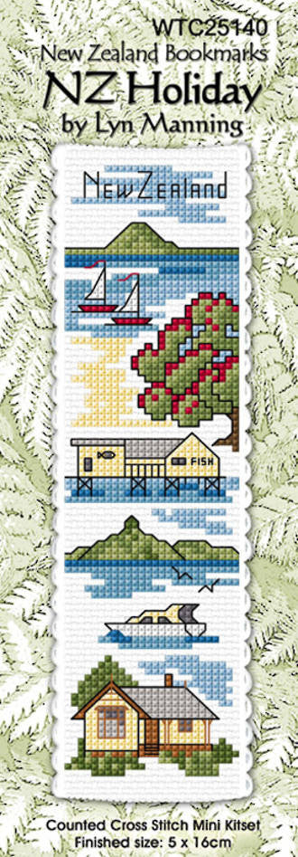 Cross-stitch bookmark - NZ Holiday