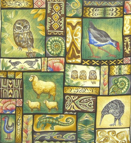 New Zealand Flora and Fauna Panel (54 x 60 cm)