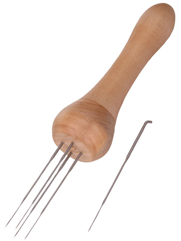 Felting Needle Punch - Wooden handle, includes 5 needles