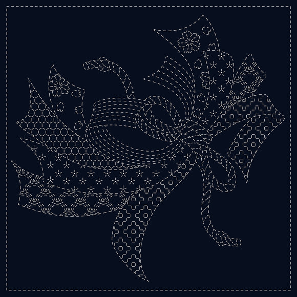 Japanese Sashiko Cloth Panel - Noshi / Good Wishes