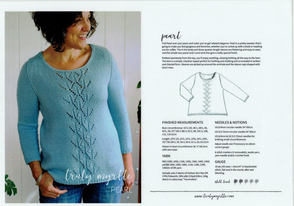 Truly Myrtle - Pearl Pullover Pattern for Ladies in 8-ply / DK