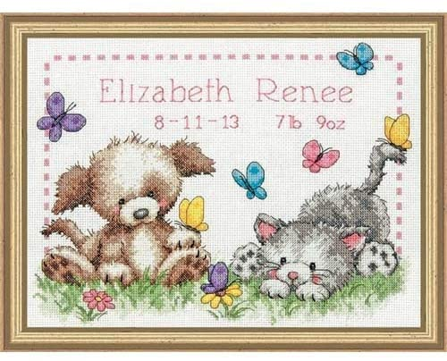 Dimensions Counted Cross Stitch Kit - Pet Friends Birth Record