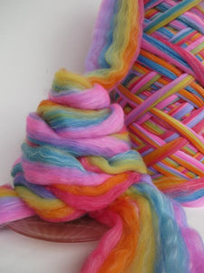 Hand-dyed fibre in Rainbow