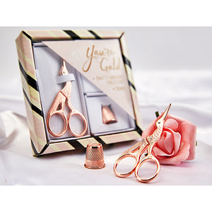 Rose Gold Coloured Stork Scissor and Thimble Embroidery Gift Set
