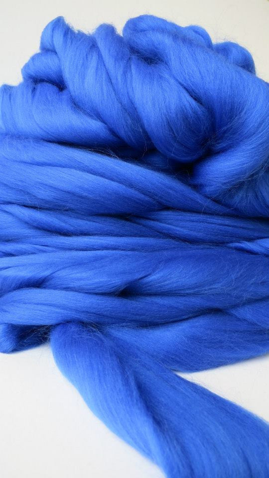 Hand-dyed fibre in Royal Blue