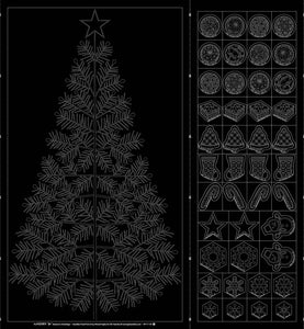Large Japanese Sashiko Cloth Panel - Seasons Greetings on Black