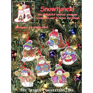 Cross-stitch chart - Snowtunes Chart - 6 Christmas Ornaments and 2 Stockings