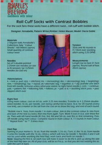 Annabelle's Knitting Pattern - Roll Cuff Socks with Contrast Bobbles