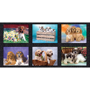 Fabric Panel - Six adorable puppy pictures (55 cm x 110 cm)