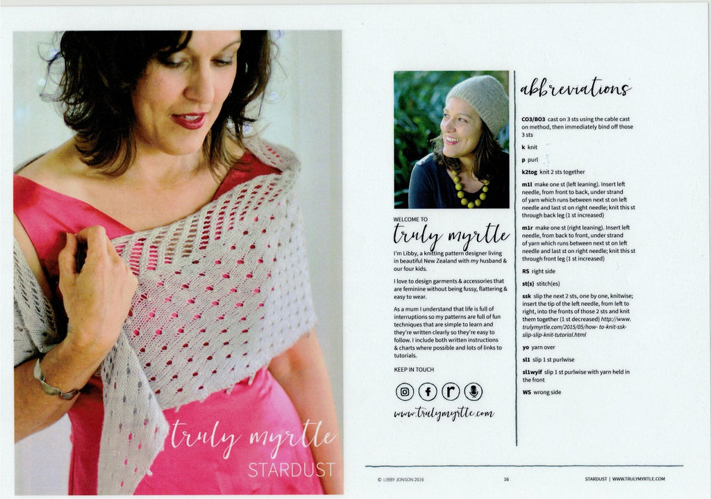 Truly Myrtle - Stardust Shawl Pattern for Ladies in 4-ply / Fingering