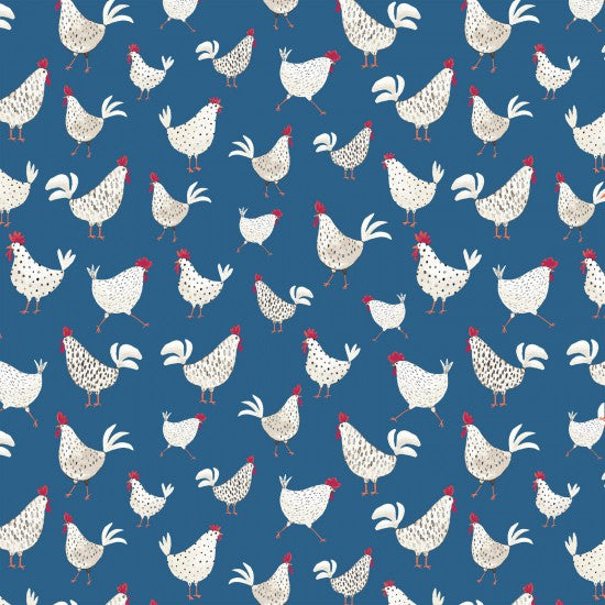 State Fair - Chickens on Cobalt Blue Background