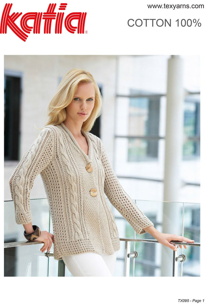 Katia TX095 - Ladies Cable and Lace Cardigan in 8-ply / DK Cotton