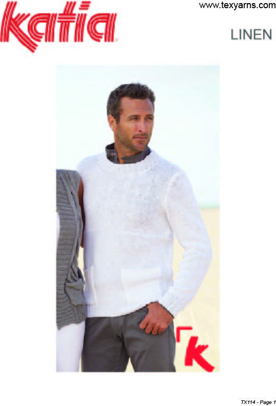 Katia TX114 - Mens Easy Summer Sweater in 8-ply / DK Linen or Linen-Blend