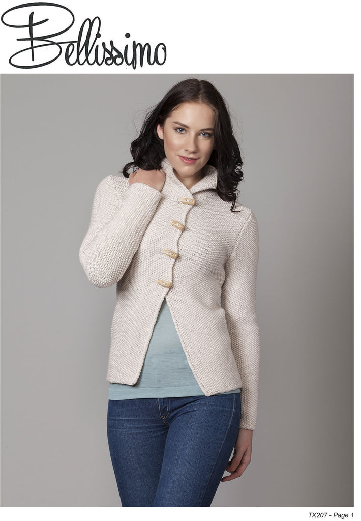 Bellissimo TX207 - Ladies Moss Stitch Jacket in 8-ply / DK