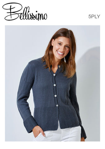 Bellissimo TX334 - Ladies Cardigan with Moss Accents 5-ply / Sport