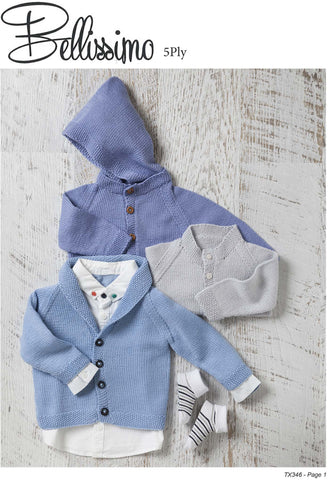 Bellissimo TX346 - Three Classic Babies Cardigans in 5-ply / Sport for ages 0-12 months