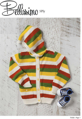 Bellissimo TX350- Childrens Hoodie Cardigan in 5-ply / Sport for ages 2 years to 8 years