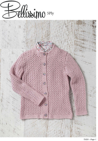 Bellissimo TX351- Girls Lacy Cardigan in 5-ply / Sport for ages 2 years to 8 years