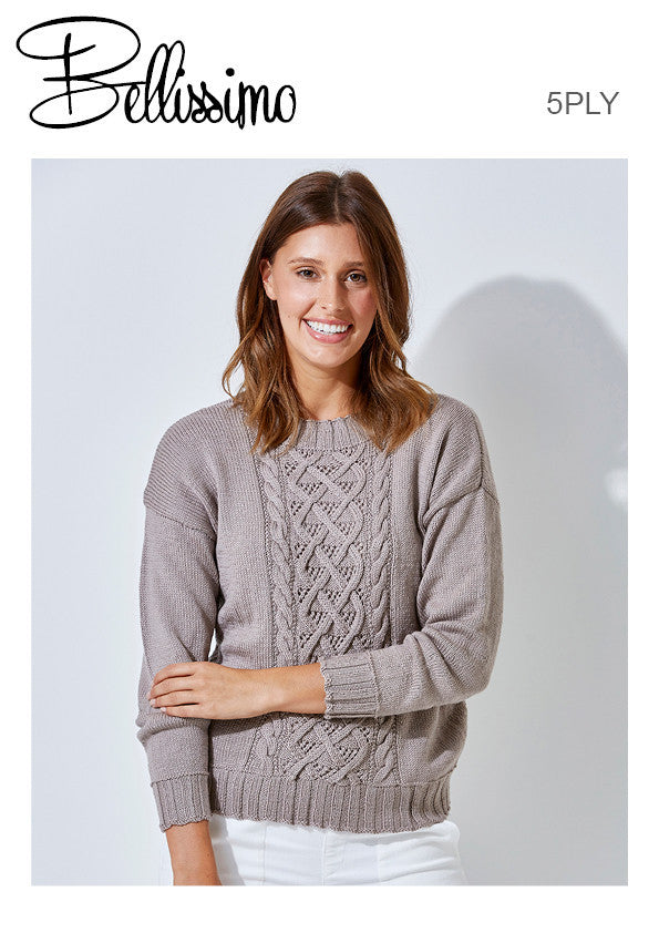 Bellissimo TX522 - Ladies Pullover with Cabled Front and two sleeve lengths in 5-ply / Sport