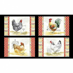 The Hen House Panel (60 cm x 108 cm) - Four different roosters