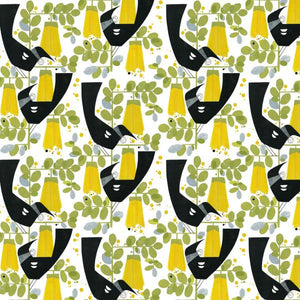 Tuis & Kowhai - graphic print on white