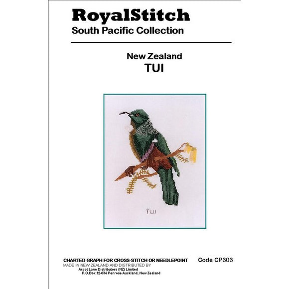 Cross-stitch chart - Royal Stitch New Zealand Tui