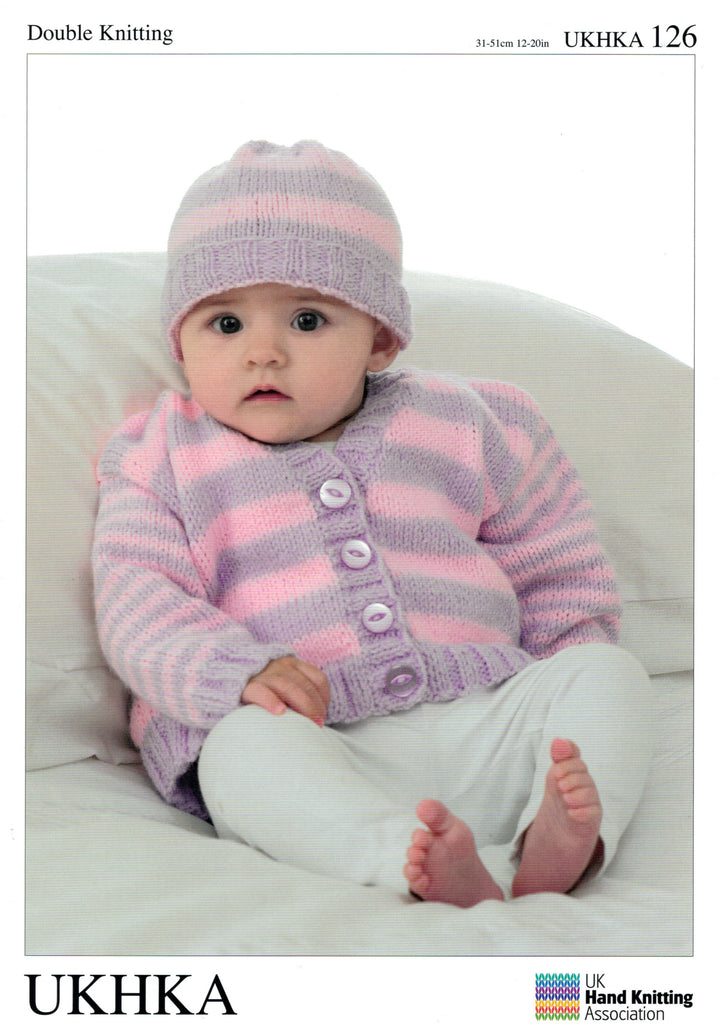 UKHKA 126 - Two Baby Cardigans in crew and V-neck, and Hat - DK / 8-ply