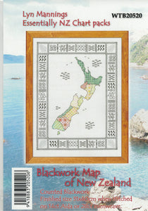 Cross-stitch chart - Blackwork Map of New Zealand with tiny Kiwiana motifs