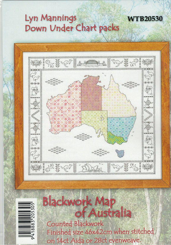 Cross-stitch chart - Blackwork Map of Australia with tiny Aussie motifs