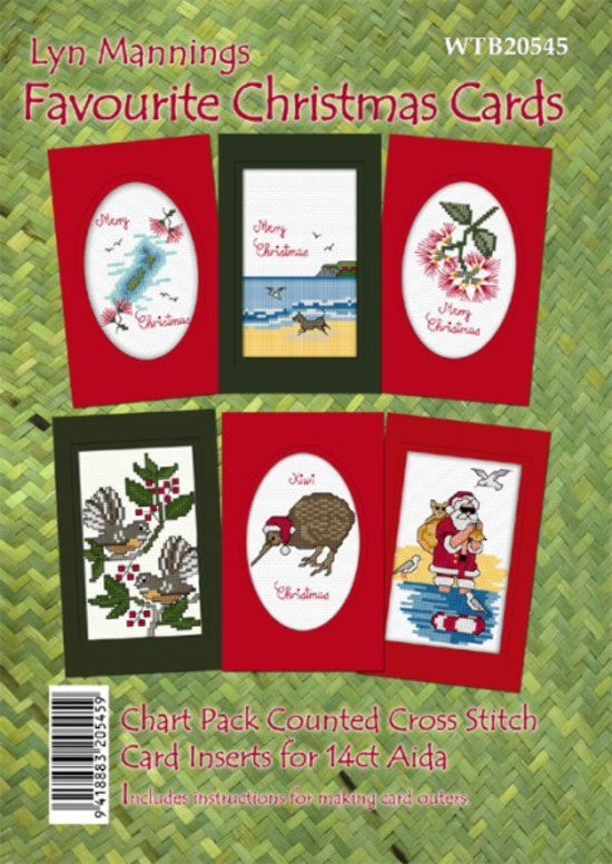 Cross-Stitch Pattern - Set of six Christmas Card Inserts