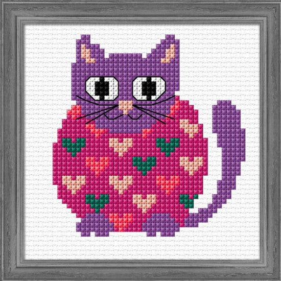 Cross-stitch kit for children - Hippie Kitty