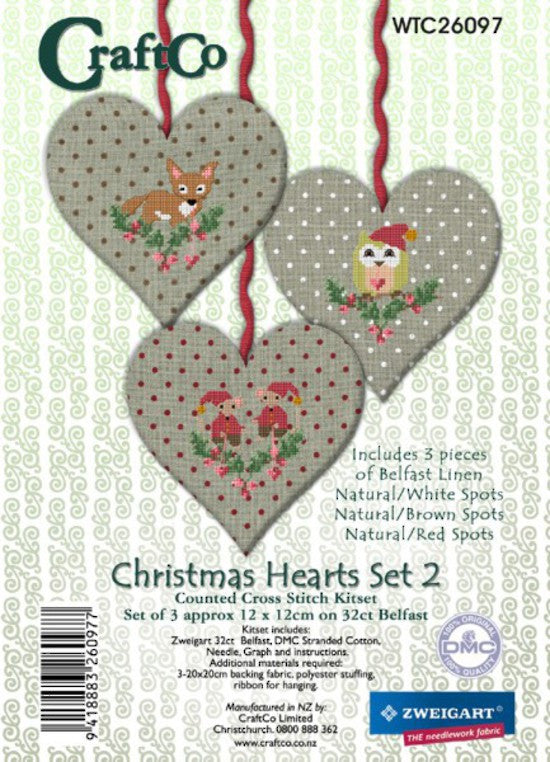 Cross-stitch kit - Christmas Hearts Trio 2