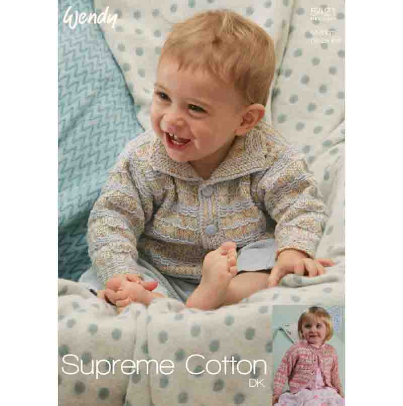 Wendy Knitting Pattern 5421 - Babies Cardigan with two neck options in DK / 8-ply for ages 0 months to 5 years