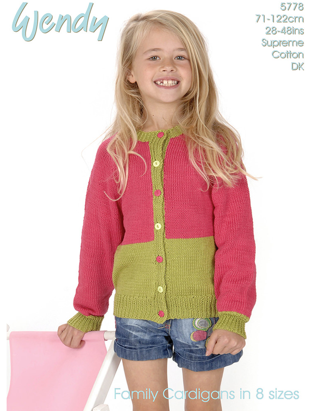 Wendy Knitting Pattern 5778 - Lovely Colour Block Cardigan in 8-ply / DK for ages Girls to Ladies